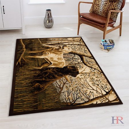 Hr Cabin Rea Rug.Hunting Dogs /Nature