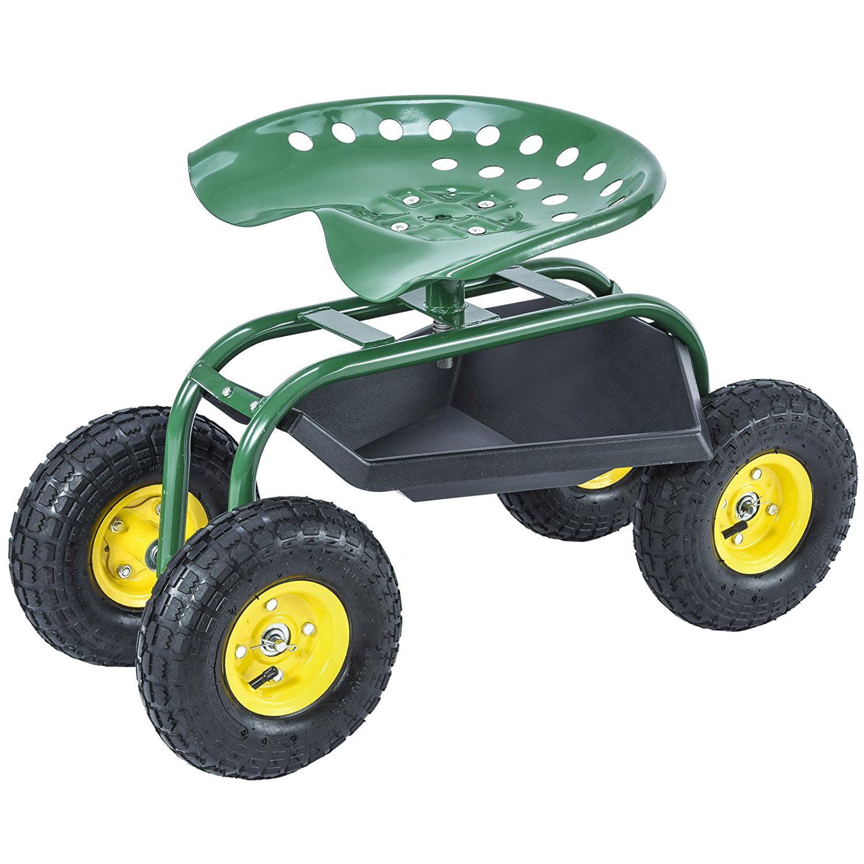 Green Rolling Garden Cart Work Seat w/Heavy Duty Tool Tra...