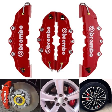 4PCS High Quality ABS Plastic Truck 3D Red Useful Car Universal Disc Brake Caliper Covers Front Rear Auto Universal Kit Decoration Modification Set for 14~18 Inch Over Wheels ()