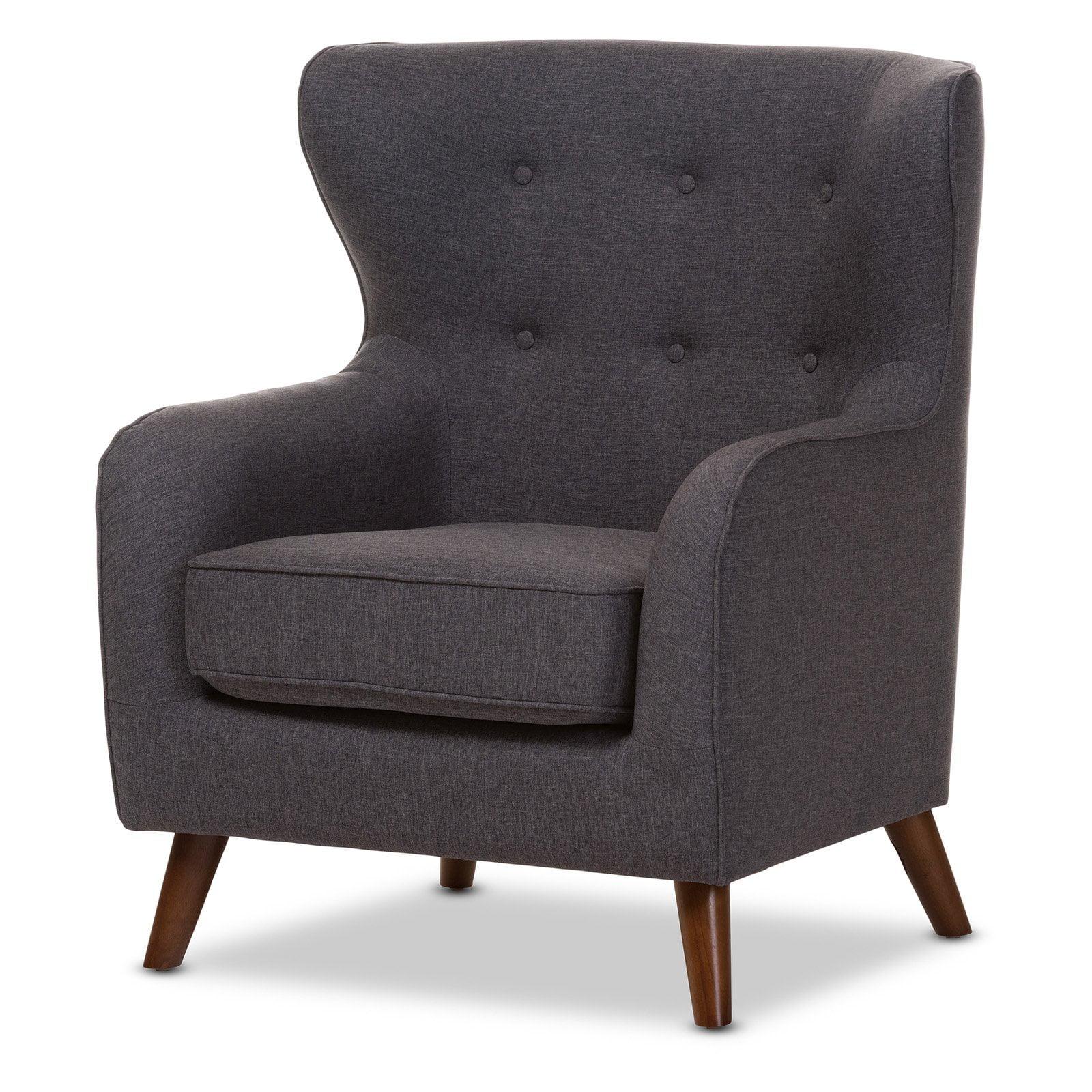 Baxton Studio Ludwig Mid-Century Modern Walnut Finish Button Tufted Upholstered Armchair by Baxton Studio