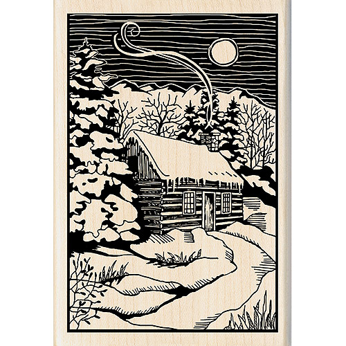 "Inkadinkado Christmas Mounted Rubber Stamp, 2.75"" x 4"", Winter Evening Woodcut"