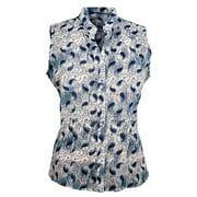 Outback Trading Shirt Women Allison Sleeveless Snap Paisley Navy 42088