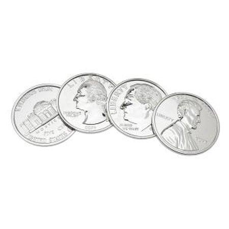 Nickel-Plated Assorted U.S. American Coins Drink Beverage Coasters, Set of 4