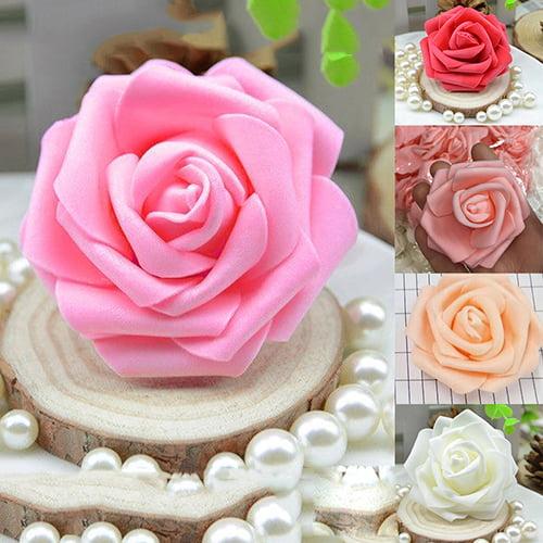 Girl12Queen 50Pcs Artificial Flowers Wedding Bride Bouquet Party Decor Foam Rose Heads