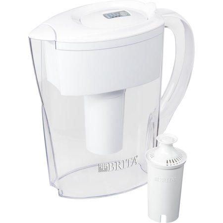 Filter Water - Brita Small 6 Cup Space Saver Water Pitcher with Filter - BPA Free - White