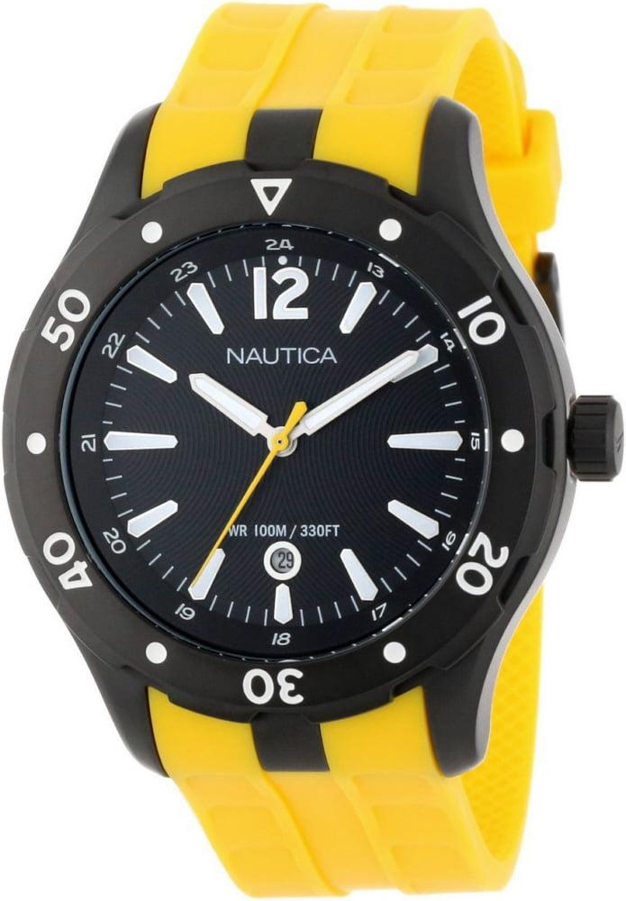 Men's Black And Yellow Nautica NST 401 Watch N15626G by Nautica