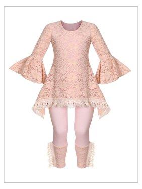 Girls Blush Lace Fringe Crochet Side Tail Tunic & Cuffed Leggings Set, Blush, Size: 10Y/12Y