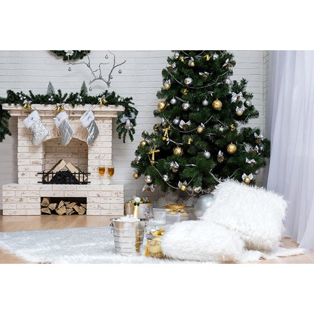 GreenDecor Polyster 7x5ft White Christmas Photography Backdrops Green Christmas Tree and Fireplace Socks Photo Backgrounds Champagne on White Carpet On Fire Photo