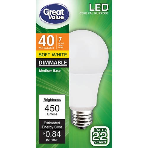 Great Value LED Light Bulb 7W (40W Equivalent) Omni (E26) Dimmable, Soft White