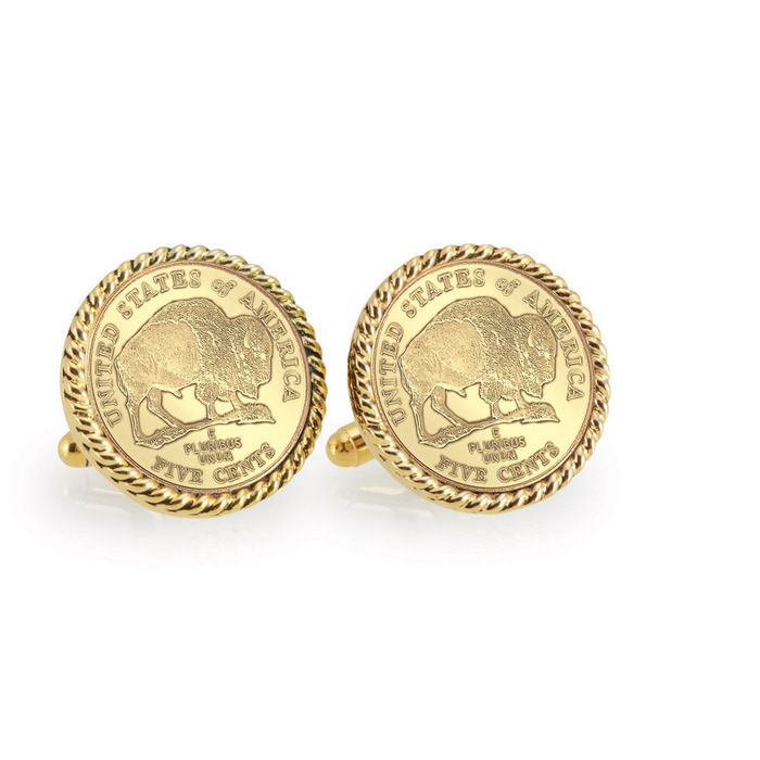 Gold-Layered 2005 Bison Nickel Goldtone Rope Bezel Coin Cuff Links