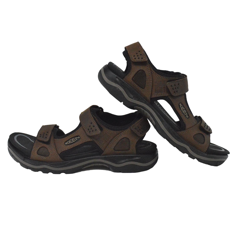 437a44a75db2 Keen Men s Rialto 3 Point Adjustable Strap Fashion Sandals - Dark Earth  Black - Walmart.com