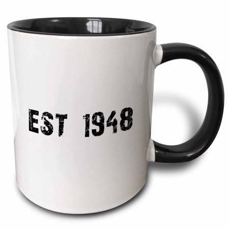 3dRose Grunge Est Established in 1948 - Forties Baby Born Child of the 1940s - Personal custom birth year - Two Tone Black Mug, 11-ounce