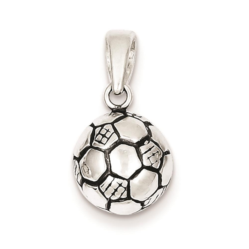 925 Sterling Silver 3-D Antiqued Soccer Ball Polished Charm Pendant 12mmx10mm