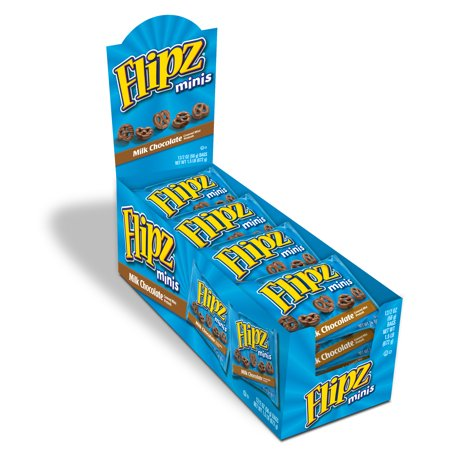 Flipz Milk Chocolate Covered Mini Pretzels, 12 Snack Bags, 2 Oz each - Halloween Chocolate Covered Pretzels