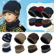 Vbiger Kids Winter Knitted Hat And Infinity Scarf Set 2 Pieces Warm Winter Knitted Set Thickened Outdoor Knitted Hat And Circle Scarf With Short Plush Lining