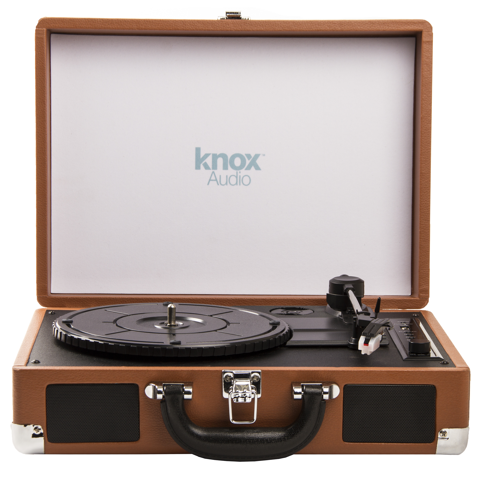 Knox Gear Portable Bluetooth USB Turntable with Built-in Speakers (Brown) by Knox