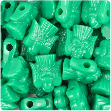 BeadTin Green Opaque 22mm Angel Pony Beads (Green Peony)