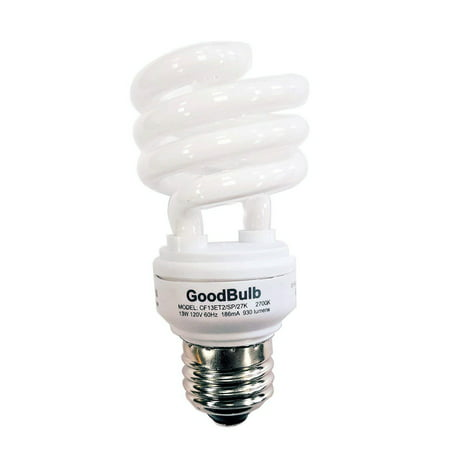 13 Watt Compact Fluorescent Bulb - Warm White Light Bulb - Ultra Mini Spiral CFL Light Bulbs - 2700K - E26 Base - 1 Pack - GoodBulb