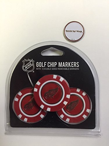 Detroit Redwings 3- PACK Golf POKER CHIPS, with markers, BONUS MARKER FREE by