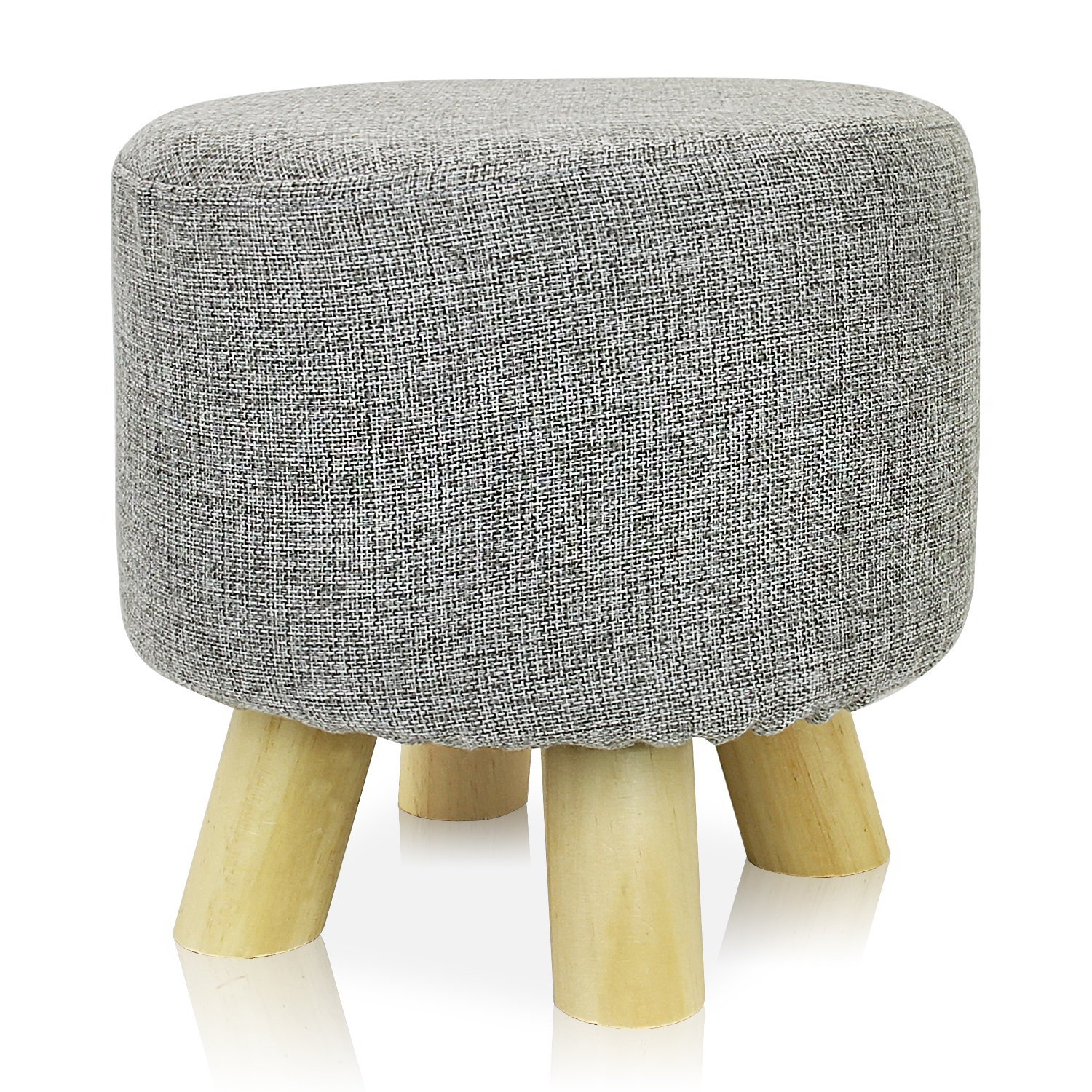 Round Ottoman Foot Stool, 4 Leg Stands Round Shape
