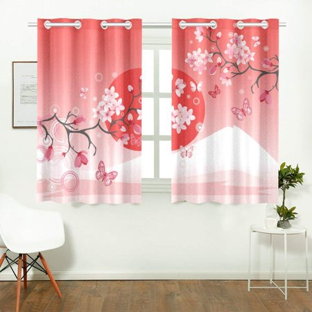 CADecor Japanese Sakura Cherry Blossom Window Treatment Panel Curtains Window Curtain Kitchen Curtain,Two Piece 26x39 (Falling Cherry Blossoms)