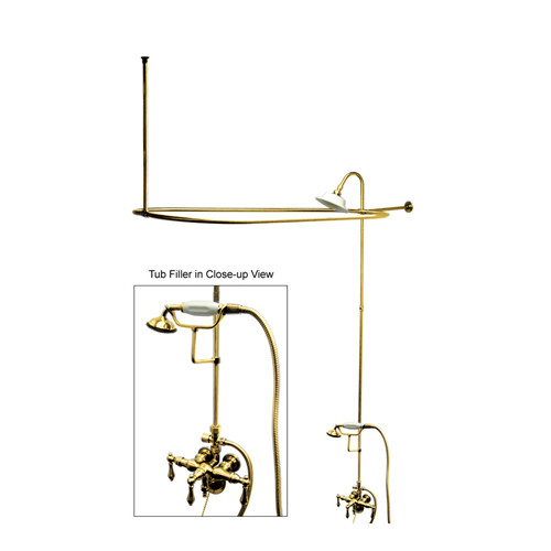 Kingston Brass Vintage Triple Handle Wall Mount Down Spout Clawfoot Tub and Shower Package