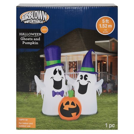Halloween Airblown Inflatable 5ft. Ghosts and Pumpkin Scene by Gemmy - Drunk Pumpkin Halloween