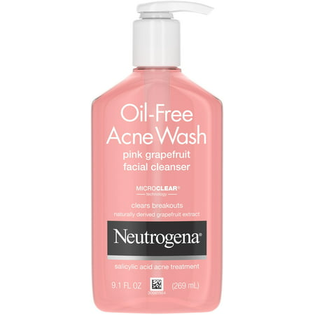 2 Pack - Neutrogena Oil-Free Salicylic Acid Pink Grapefruit Pore Cleansing Acne Wash and Facial Cleanser with Vitamin C