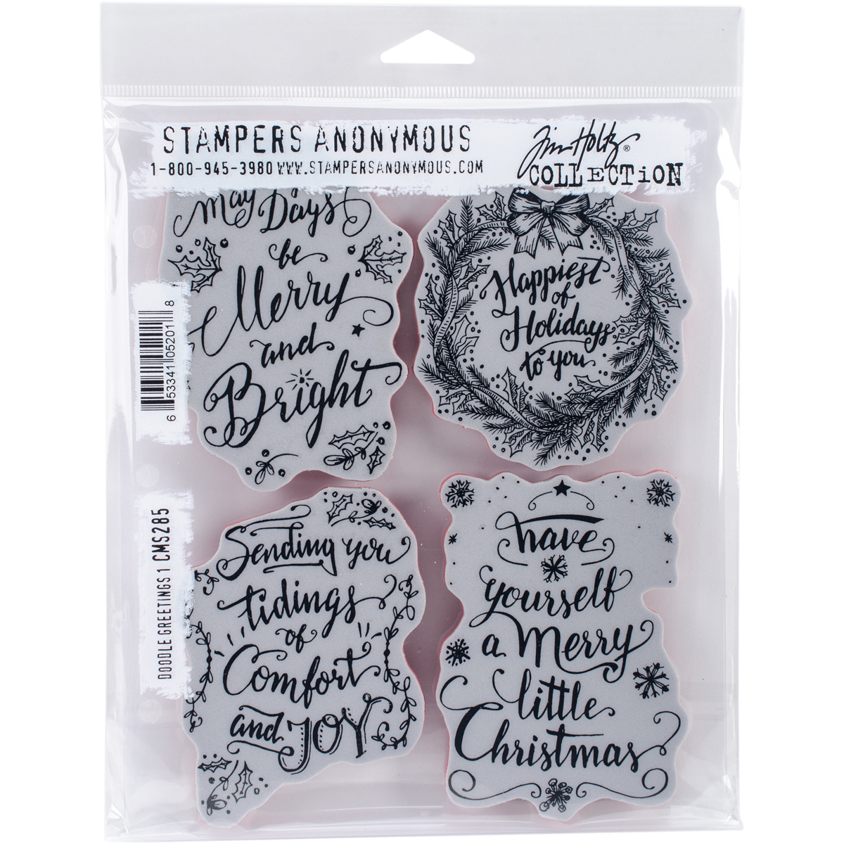 """Tim Holtz Cling Stamps 7""""X8.5"""" Doodle Greetings #1"""