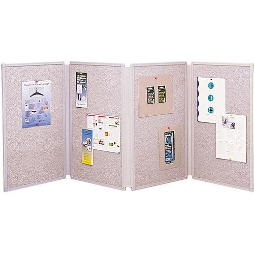 "Quartet Tabletop Display Presentation Board, Fabric, 72"" x 30"", Gray"
