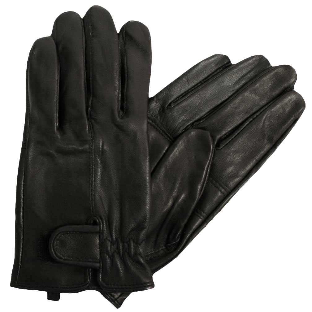 Luxury Divas Men's Black Adjustable Closure Driving Leather Gloves