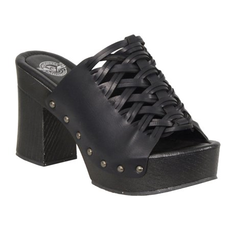 - Ladies Lace Top Platform Heel Shoe w/ Studs