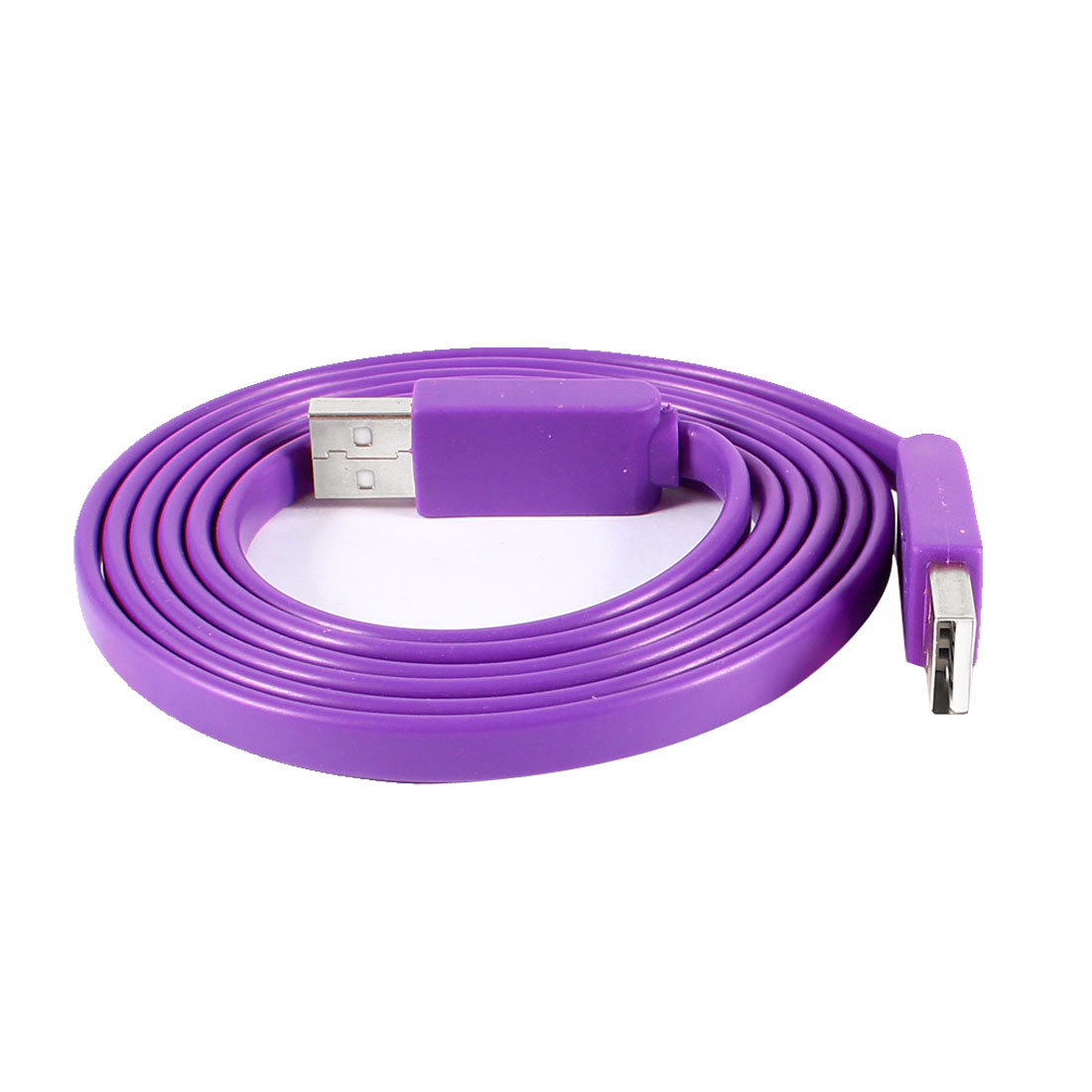 Unique Bargains Purple 5Ft Noodle Design USB Data Cord USB 2.0 A Male to Male Cable