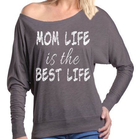 Shop4Ever Women's Mom Life Is The Best Life Off Shoulder Long Sleeve