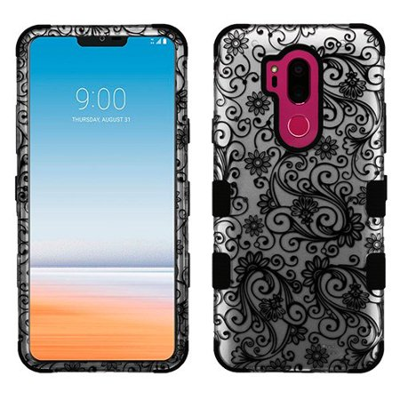 Wydan Case For LG G7 ThinQ - Tuff Hybrid Shockproof Case Protective Heavy Duty Phone Cover - Spiral Flower - Silver