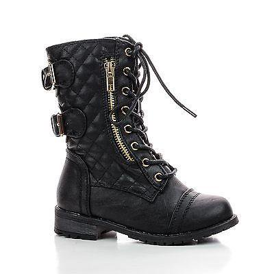 Combat Boots Girl (Mango79K by Link, Children's Girls Mid Calf Quilted Back Buckle Lace Up Combat)