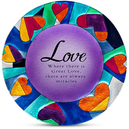 """Pavilion- Love: Where there is Great Love, there is always miracles 12"""" Round Purple Heart Decorative Serving Plate"""