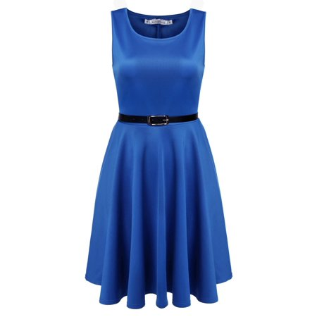 - Christmas Clearance! Women Fashion Sleeveless High Waist Pleated Party Dress With Belt ECBY