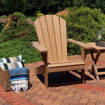 Sunnydaze Outdoor Adirondack Patio Chair All Weather Faux Wood Design Brown