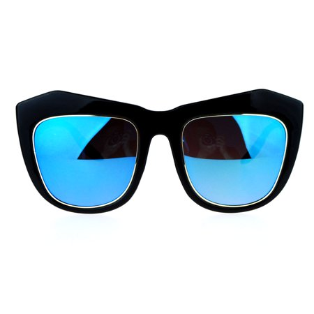 SA106 Mirrored Color Mirror Lens Retro Thick Eyebrow Butterfly Sunglasses Black Blue - Baby Eyes Brown Halloween Contact Lenses
