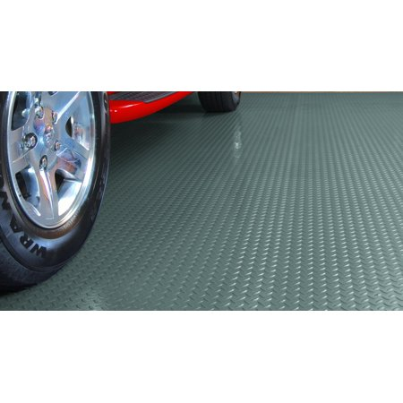 G-Floor 75 Mil Diamond Tread 8.5'x24' Slate Grey Parking Pad Garage Flooring