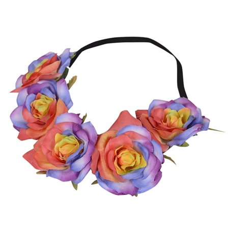 Flower Crown, Coxeer Wedding Hair Accessories Flower Crowns Headband Elastic Hair Band Decoration for Women Girls Bride Bridesmaid for $<!---->