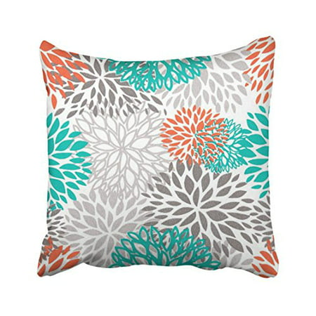 WinHome Decorative Orange Gray And Turquoise white Throw pillow Case Size 18x18 inches Two Side