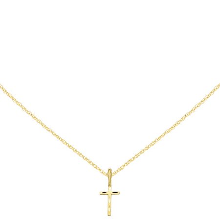 14kt Yellow Gold Satin and Diamond-Cut Cross - Gold Cross Tambourine