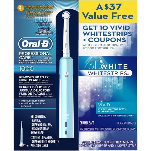 Oral B Professional Care 1000 Special Pack with 10 FREE Crest 3D Whitestrips Limited Qtys available ($15 Mail In Rebate)