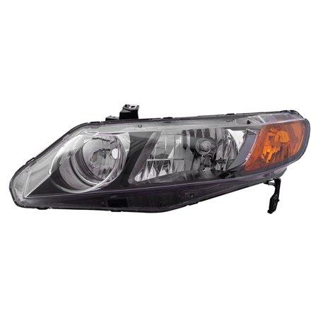 Drivers Headlight Headlamp with Amber Park Lens Replacement for Honda Civic Sedan 33151SNAA02