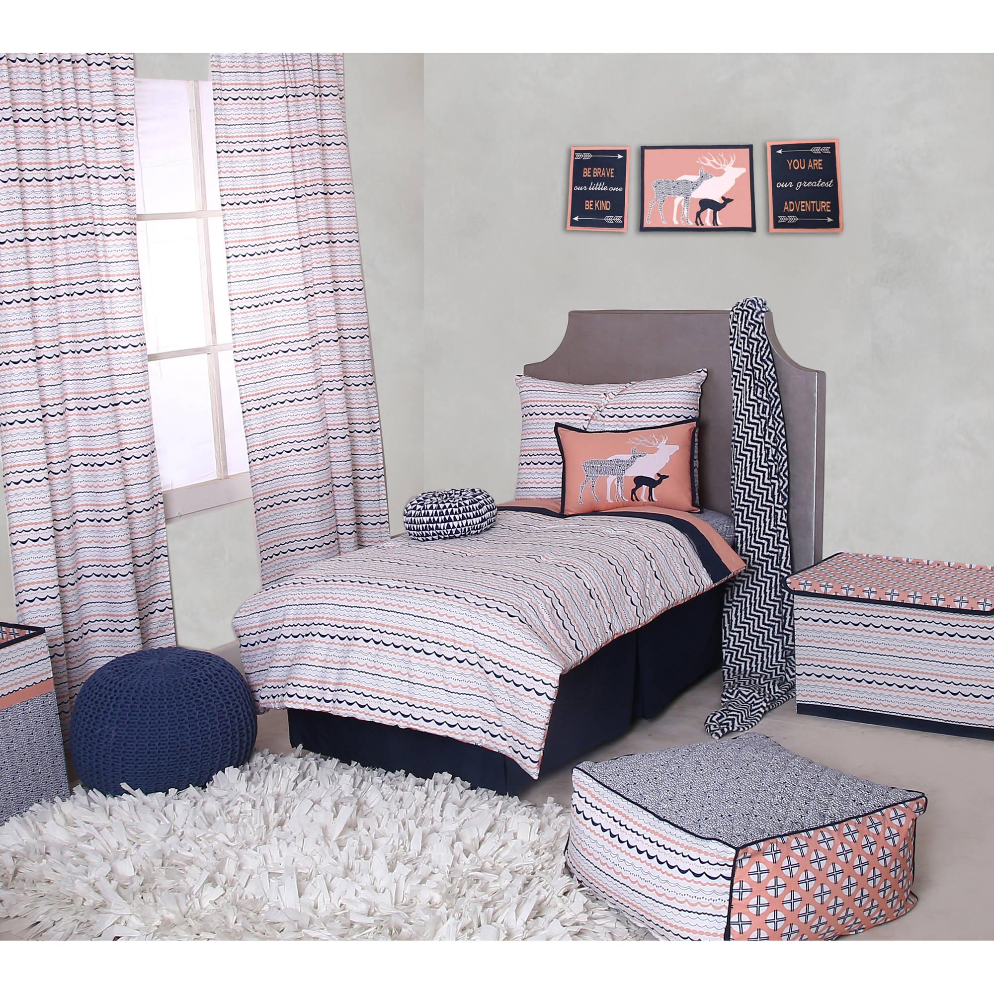 Bacati Elephants 3 Pc Toddler Bedding Sheet Set Pink//Grey