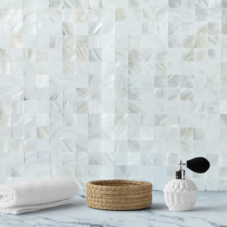 - Efavormart 5 Pack Peel & Stick Natural Real Sea Shell Mosaic Wall Tile Panels- 12