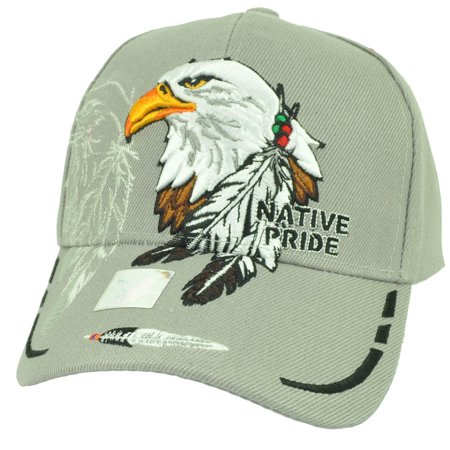 - Native Indian American Pride Bald Eagle Shadow Feather Hat Cap Gray Adjustable