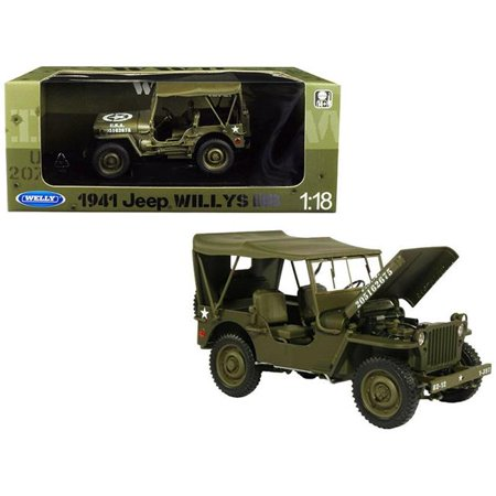 M38 Willys Jeep (1941 Jeep Willys MB with Soft Top Green WWII U.S. Army 1/18 Diecast Model Car by Welly )